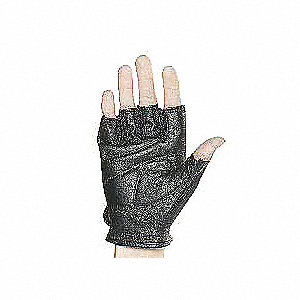 Leather Mechanics Gloves, Grain Leather Palm Material, Black, M, PR 1
