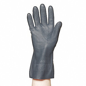 Neoprene Chemical Resistant Gloves, 25 mil Thickness, Cotton Flock Lining, Size L, Black, PR 1