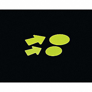 "Glow-in-the-Dark Marking Tape, Solid, Arrow, 4"", 50 PK"