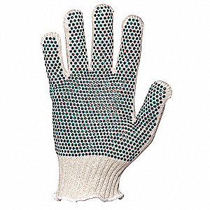 White/Blue Heavyweight Knit Gloves, Cotton, Size Men's L