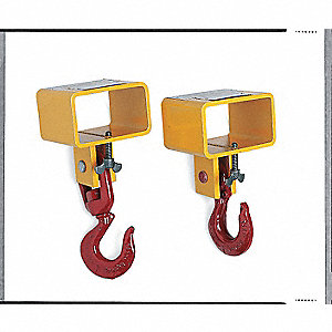 "Forklift Lifting Hook, Single Fork, Single Swivel Hook, 3000 lb., Fork Pocket Size 4-1/2"" W"