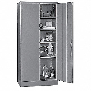"Storage Cabinet, Gray, 72"" Overall Height, Unassembled"