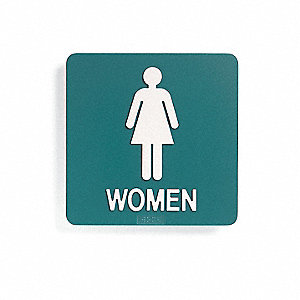 Restroom Sign,8 x 8In,WHT/Navy BL,PLSTC