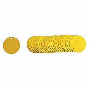 "Yellow Blank Tag, Aluminum, Round, 2"" Height, 25 PK"