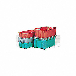 "Heavy Duty Stack and Nest Container, Fiberglass Reinforced Polyester, 42-1/2"" Outside Length"