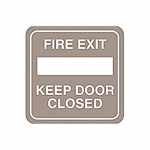 Fire Door Sign,5-1/2 x 5-1/2In,WHT/Tan