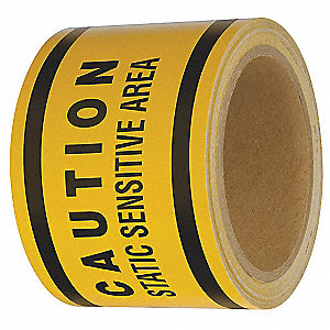 "Safety Warning Tape, Solid, Roll, 3"" x 108 ft., 1 EA"