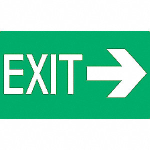 Exit Sign,8 x 12In,Glow/GRN,Exit,ENG