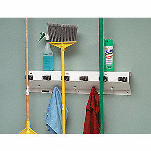 White Steel Mop and Broom Holder, 1 EA