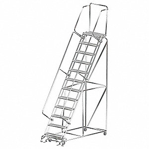 "Lockstep Rolling Ladder, 153"" Overall Height, 450 lb. Load Capacity, Number of Steps 12"