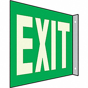 Exit Sign,7 x 10In,WHT/GRN,Exit,ENG,Text