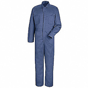 Coverall,Chest 52In.,Blue