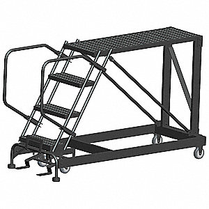 "Rolling Work Platform, Steel, Single Access Platform Style, 40"" Platform Height"