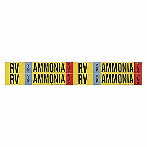 "Ammonia Vapor Pipe Marker, Fits Pipe O.D. 3/4 2-3/8"", High Pressure Level, RV, 1 EA"