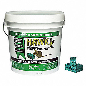 Rodenticide,Green Chunks,9 lb. Pail
