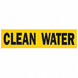 Pipe Marker,Clean Water,Yellow