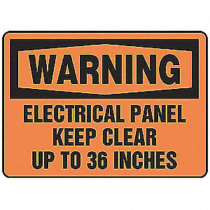 Warning Sign,7 x 10In,BK/ORN,ENG,Text
