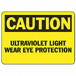 Caution Ultraviolet Sign,7 x 10In,BK/YEL