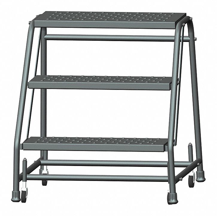 Ballymore 3 Step Rolling Ladder Perforated Step Tread 28