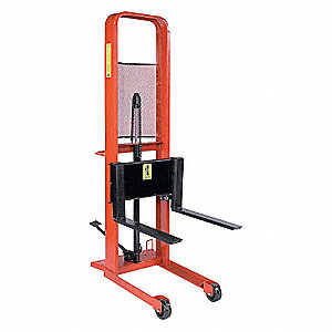 "Hydraulic Stacker, 1000 lb., Fork Width 3"", Fork Length 25"", Lifting Height Max. 64"""