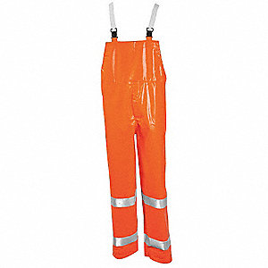 Hi-Vis FR Rain Bib Overall,Orange,XL