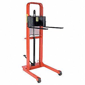 "Straddle Stacker, 1000 lb., Fork Width 3"", Fork Length 30"", Lifting Height Max. 56"""