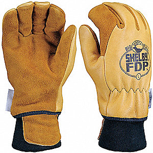 Structural Firefighters Gloves, Nomex Knit Cuff, Elkhide Leather