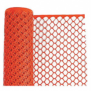 "Safety Fence, 1-1/4 x 1-1/2"" Mesh Size, 4 ft. Height, 50 ft. Length"