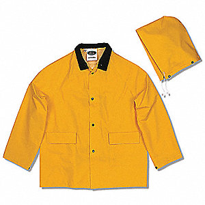Men's Yellow 0.30mm PVC/Polyester/PVC 3-Piece Rainsuit with Detachable Hood, Size: L, Fits Chest Siz