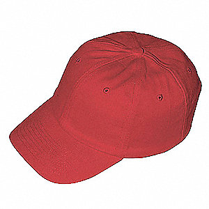 Red Cotton With Thermoplastic Inner Shell Vented Bump Cap, Style: Baseball Style, Fits Hat Size: One