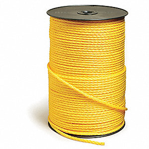 "Polypropylene Rope, 1/4"" Rope Dia., 1000 ft. Length, Yellow"