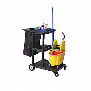 Janitor Cart,Black,48 In.H,24 In.D