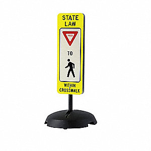 "Text and Symbol State Law Yield To Within Crosswalk, Plastic Traffic Sign, Height 36"", Width 12"""