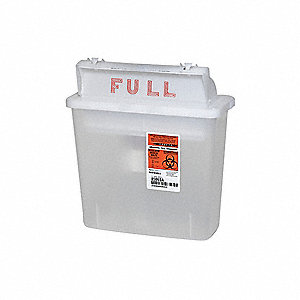Sharps Container,1-1/4 Gal.,Clear,PK5