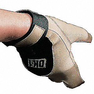 Anti-Vibration Glove, Full Grain Leather Palm Material, Tan, L, EA 1