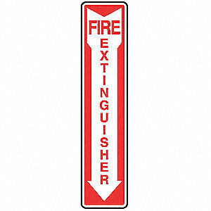 Fire Extinguisher Sign,18 x 4In,R/WHT