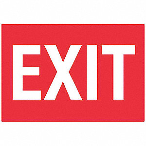 Exit Sign,7 x 10In,WHT/R,ACRYL,Exit,ENG