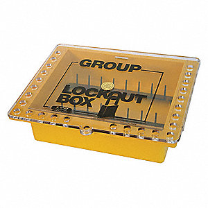 "Yellow Plastic Group Lockout Box, Max. Number of Padlocks: 27, 10-1/2"" Height, 12-3/4"" Width"