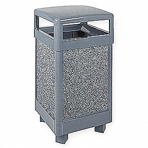 29 gal. Dimension 500 Series, Gray, Steel/Stone, Trash Can