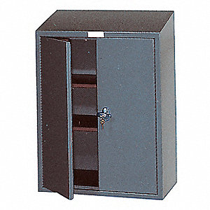 "Gray Wall Mount Storage Cabinet, 30"" Overall Height, 36"" Overall Width, Number of Shelves 2"