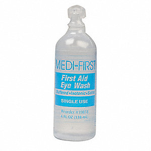 First Aid Eye Wash, Application: Single Use, Size: 4 oz., Bottle Package Type