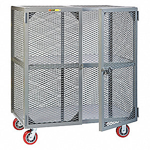 Visible Contents Mobile Storage Locker, 2000 lb. Load Capacity, (2) Rigid, (2) Swivel Caster Type
