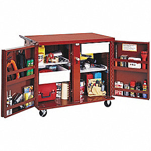 "Red Jobsite Chest, Width: 26-7/8"", Depth: 49"", Height: 40-5/8"", Storage Capacity: 30.6 cu. ft."