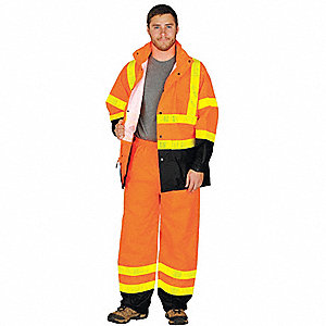 Hi-Visibility Orange Rainsuit, Size: L/XL