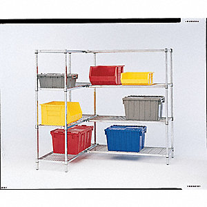 "Zinc Plated Wire Shelving Unit, 72"" Height, 24"" Width, Number of Shelves 4"