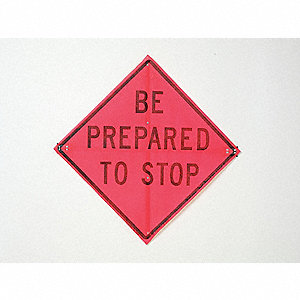 Stop Sign,36 x 36In,BK/R-ORN FLUOR,Text