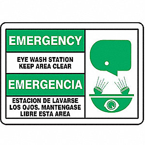 Eye Wash Sign,7 x 10In,GRN and BK/WHT