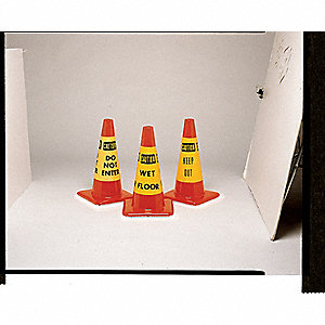 Traffic Cone Collar,YW/Blk,Keep Out,PK6
