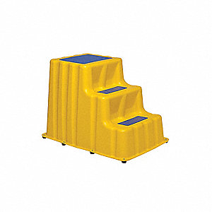 "Polyethylene Step Stand, 30"" Overall Height, 500 lb. Load Capacity, Number of Steps 3"