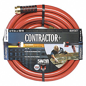 Water Hose,PVC,3/4 In ID,50 ft L